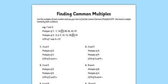 Finding Common Multiples - LCM, lists, finding, common, multiples, common multiples