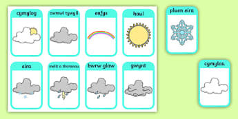Weather Flashcards Welsh Translation - seasons, welsh, cards