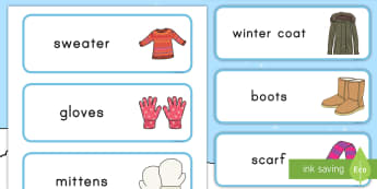 Winter Clothes Word Cards - winter, winter clothes, word cards, flashcards