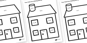 3, 4 and 9 Times Tables Active Picture Building Activity House, times table, times tables