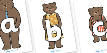 A-Z Alphabet on Goldilocks Characters - A-Z, A4, display, Alphabet frieze, Display letters, Letter posters, A-Z letters, Alphabet flashcards, goldilocks, characters