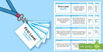 *NEW* CfE First Level Number, Money and Measure Lanyard-Sized Benchmarks - number money and measure assessment teacher judgement,Scottish, benchmarks, outcomes, assessment, ta