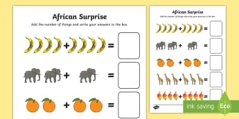 Addition Sheet to Support Teaching on Handa's Surprise - adding, worksheets, maths