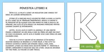 Litera K Poveste - poveste, povești, povestea literei K, alfabet, litere, clasa pregătitoare,Romanian
