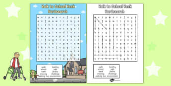 Walk to School Week Wordsearch - walk to school week, wordsearch