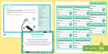 Pet Grooming Small World Play Idea and Printable Resource Pack - EYFS Pets, Animals, National Pet Month, pet care, grooming parlour, vets, dogs, cats, hamster