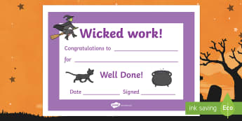 Wicked Work Halloween Certificate