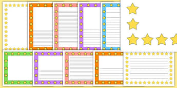 Mixed Colours Star Page Borders - star, page borders, borders