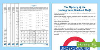 UKS2 The Mystery of The Underground Blackout Theft Maths Game - murder mystery, column subtraction, shape, prime numbers, decimals