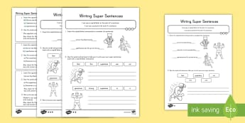 Writing Super Sentences Differentiated Activity Sheets - writing, sentence structure, capitals, periods, activity
