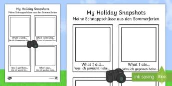 My Holiday Snapshots Writing Frames English/German  - EAL, German, Meerkat mail,  my holiday, snapshot, writing frame, writing, frame,,German-translation