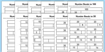 Bar Modelling Number Bonds Bumper Pack Differentiated Activity Sheet Pack - bar model, bar modelling, number bonds, pack, worksheet
