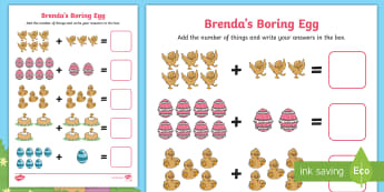 Brenda's Boring Egg Up to 10 Addition Sheet - Twinkl originals, fiction, KS1, EYFS, story, maths, calculation, the ugly duckling, eggs, hatching,