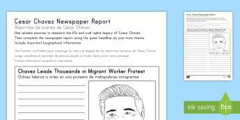 Cesar Chavez Newspaper Report Writing Activity Sheet US English/Spanish (Latin) - Cesar Chavez, Cesar Chavez Day, Latino Civil Rights, Civil Rights, Migrant Workers, newspaper, repor