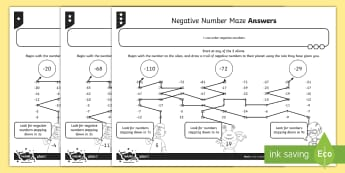 Negative Number Maze Activity Sheet - Number and Place Value, negative, minus, below, zero, count, worksheet, forwards, backwards, sequenc