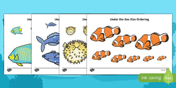 Under the Sea Fish Size Ordering - under the sea, under the sea size ordering, fish, fish size ordering, fish size ordering activitiy, size ordering, sea