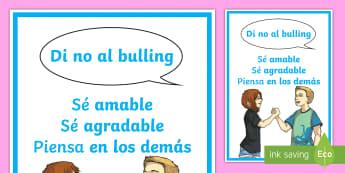 Póster: Di no al bulling Póster DIN A4 - Bulling, acoso, acoso escolar, molestar, abuso, abusón, matón, problemas de convivencia, convivenc