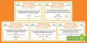 Ratio and Proportion Stage 6 WALT Display Posters - WALT cards for NZ Mathematics, stage 6 maths, NZ Maths, NZ Numeracy Project, Stage 6 WALTs, stage 6