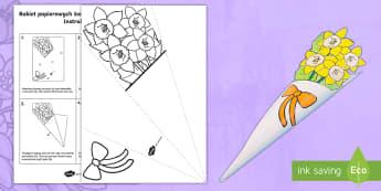 Szablon Bukiet papierowych żonkili Dzień Matki - żonkile, żonkili, narcyze, narcyz, kwiat, kwiaty, bukiet, kwiatów, mama, mamy, dzień, matki, mat