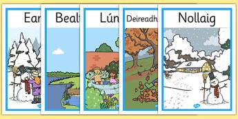 Months of the Year Seasons Posters Gaeilge - gaeilge, months of the year, months, year, seasons, poster, display