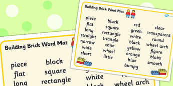 Building Bricks Therapy Word Mat - building bricks, therapy, mat