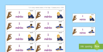 Merit Reward Stickers - Time, Saving, Spanish, Marking, Stickers, books, classroom, organisation,merit, points