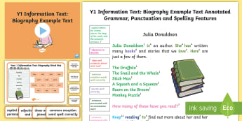 Y1 Information Texts: Biography Model/Example Text - Example Texts Y1, Information Texts, Biography, exemplification, WAGOLL, exemplification, moderating, ARE, age-related example, model, model text, age-related model