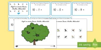 Baum Zählen Subtrahieren Spiel - DE  Frühling im Park, Blumen, Baum, Vogel, Spiel, Zahlen, Subtrahieren 1-10,,German