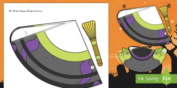 Halloween 3D Witch Paper Craft - Halloween, witch, paper, craft, activity