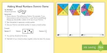 Adding Mixed Numbers Domino Game - mixed numbers, adding mixed numbers, subtracting mixed numbers, dominoes, spinner, fractions, improp