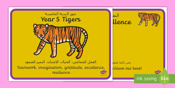 Editable Values Display Posters Arabic/English  - Editable Values Display Posters - values, valeus, displya, sidplay, postre, tiger, tigger, tigers, d