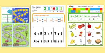 addition games ks1 printable - - addition, games, KS1, sums, total,