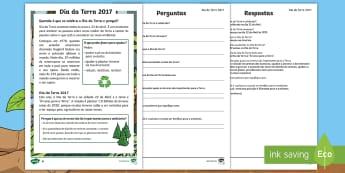 Dia da Terra, atividade de compreensão de leitura - KS1, Earth Day, Environment, Pollution, Trees, Deforestation, Earth, Planet, Animals, Habitat, Carbo