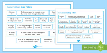 Spanish Conversation Gap Fillers Word Mat - Spanish Speaking Practice, gap fillers, conversation, skills