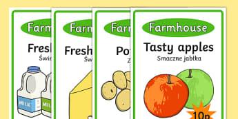Farm Shop Role Play Display Posters Polish Translation - polish, Farm Shop Role Play, farm shop resources, farm, milk, cheese, eggs, till, animals, meat, cheese, living things, butcher, role play, display, poster
