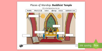 Places of Worship Buddhist Temple Activity Sheet - CfE Religious Education, places of worship, church, worksheet