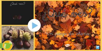 Presentación: ¿Qué ves? - Otoño - juego, imágenes, Powerpoint, hojas, castañas, erizo, ardilla, estaciones,,Spanish