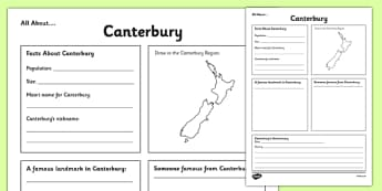 All About Canterbury Writing Frame - Canterbury, Anniversary, city, research