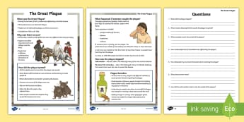 KS2 The Great Plague Differentiated Reading Comprehension Activity - KS2, history, English, reading, comprehension, Great Plague