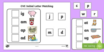 Workstation Pack:  CVC Initial Letter Matching Activity Pack