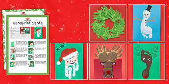 Christmas Themed Hand and Footprint Craft Pack - christmas, themed, hand, footprint, craft