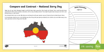 National Sorry Day Compare and Contrast Activity Sheet - Australia English National Sorry Day, 26 May, Year 3, Year 4, Year 5, Year 6, Compare, Contrast,Aust