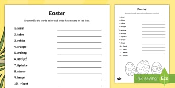 Easter Word Unscramble - CfE Easter, vocabulary, keywords, literacy, English, anagram,Scottish