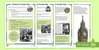 KS1 VE Day Differentiated Fact File - KS1 Comprehensions, KS1, Key Stage One, Year One, Year 1, Y1, Year Two, Year 2, Y2, reading comprehe