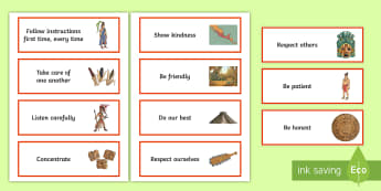KS2 Aztec-Themed Class Charter Cards - rules, behaviour, display, back to school, teacher organisation