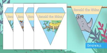 Ronald the Rhino Display Bunting - Ronald the Rhino, rhyming, pattern, story, jungle, Africa, rhino,