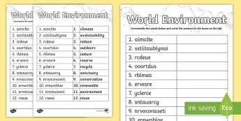 World Environment Word Unscramble - Topic words, vocabulary, keywords, literacy, English, anagram,Scottish