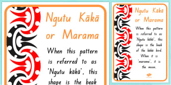 Ngutu kaka/Marama Pattern A4 Display Poster