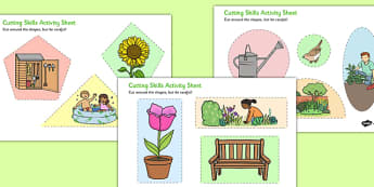 Garden-Themed Cutting Skills Activity Sheet - garden, themed, cutting, skills, activity, sheet, worksheet