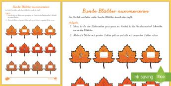 Bunte Blätter nummerieren Arbeitsblatt: Erstes Zählen - DE Herbst (Autumn), Jahreszeiten, Blätter, Mathematik, Zahlen, zählen, Kl.1/2, autumn, seasons, le